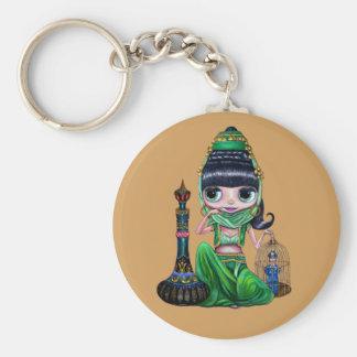 Cute Little Green Genie Belly Dancer Girl Keychain