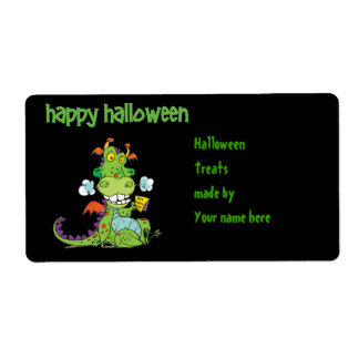 Cute little Green Halloween Dragon Personalized Shipping Label