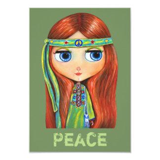 Cute Little Green Hippie Girl Peace Sign Card
