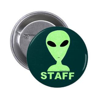 Cute Little Green Men Staff Sci-Fi Button Badge