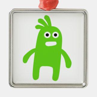 Cute Little Green Monster Metal Ornament