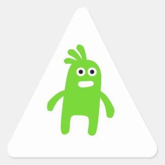 Cute Little Green Monster Triangle Sticker