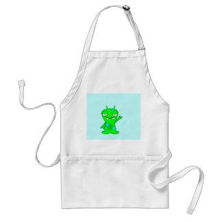 Cute Little Green Monster, Waving Adult Apron