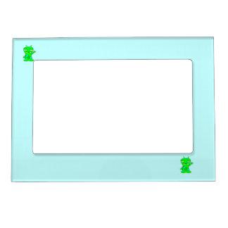 Cute Little Green Monster, Waving Magnetic Photo Frame