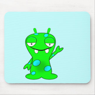 Cute Little Green Monster, Waving Mouse Pad
