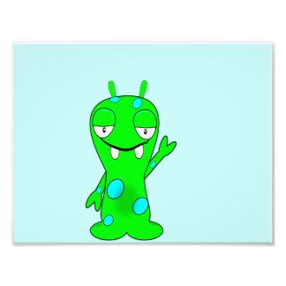 Cute Little Green Monster, Waving Photo Print