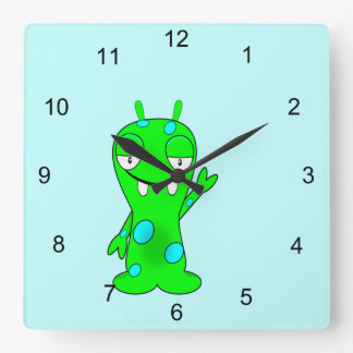 Cute Little Green Monster, Waving Square Wall Clock