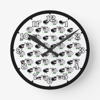 Cute Little Grey and Black Sheep Pattern Round Clock