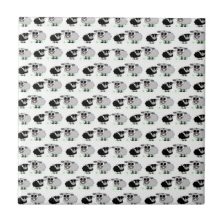 Cute Little Grey and Black Sheep Pattern Tile