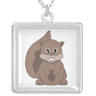Cute Little Grey Squirrel Cartoon Animal Square Pendant Necklace
