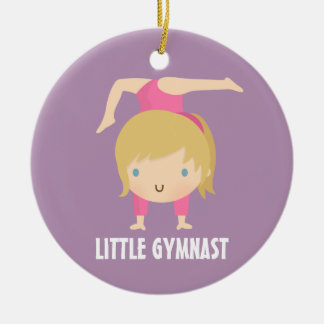 Cute Little Gymnast Blond Girl Gymnastics Custom Ceramic Ornament