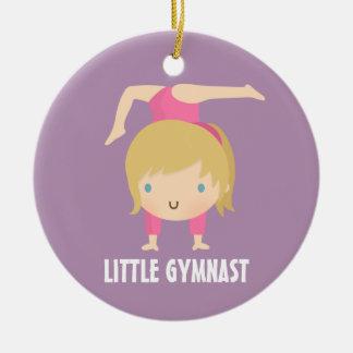 Cute Little Gymnast Blond Girl Gymnastics Custom Ceramic Ornament