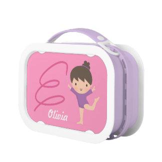 Cute Little Gymnast Girl and Ribbon Gymnastics Lunch Box