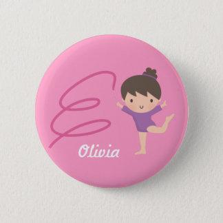 Cute Little Gymnast Girl and Ribbon Gymnastics Pinback Button