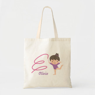 Cute Little Gymnast Girl and Ribbon Gymnastics Tote Bag