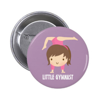 Cute Little Gymnast Girl Gymnastics Button