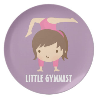 Cute Little Gymnast Girl Gymnastics Pose Dinner Plate