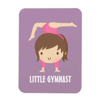 Cute Little Gymnast Girl Gymnastics Pose Rectangular Photo Magnet
