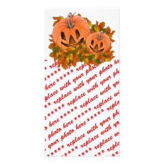 Cute Little Halloween Jack-o-Lanterns Customized Photo Card