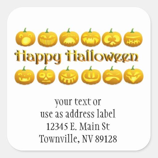 Cute Little Halloween Jack-o-Lanterns Square Stickers