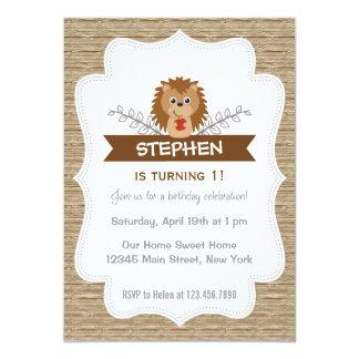 Cute Little Hedgehog Birthday Invitation Woodland