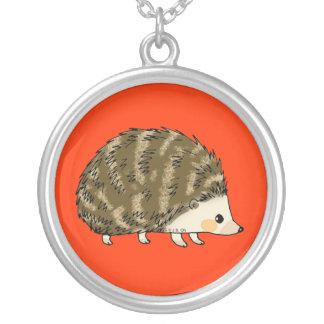 Cute little hedgehog round pendant necklace