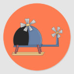 Cute Little Helicopter Round Stickers