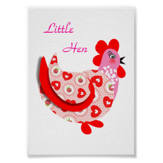 Cute Little Hen Pink Red Flower and Hearts Pattern Poster