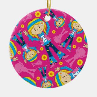 Cute Little Hippie Girl Ceramic Ornament