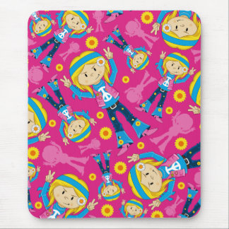 Cute Little Hippie Girl Mouse Pad