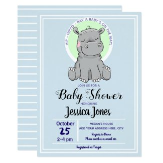 Cute Little Hippo Baby Shower Invitations