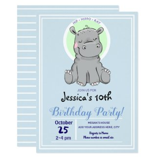 Cute Little Hippo Birthday Party Invitations