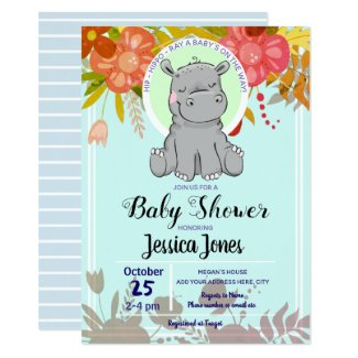 Cute Little Hippo Floral Baby Shower Invitations