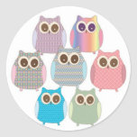 Cute Little Hoot Owls Assorted Colors Round Stickers