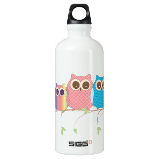 Cute Little Hoot Owls on a Branch Assorted Colors Water Bottle