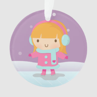Cute Little Ice Skater Girl Winter Christmas Ornament