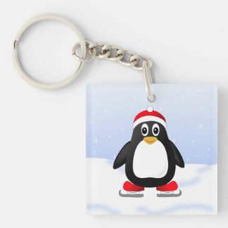 Cute Little Ice Skating Cartoon Penguin Double-Sided Square Acrylic Keychain
