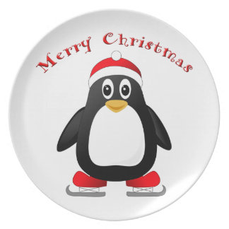 Cute Little Ice Skating Cartoon Penguin Melamine Plate