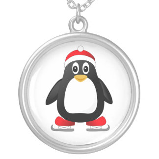 Cute Little Ice Skating Cartoon Penguin Silver Plated Necklace