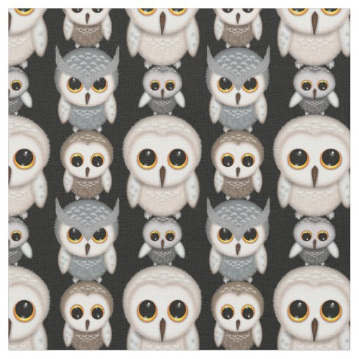 owl home decor fabric illustrated owls pattern fabric zazzle 11687