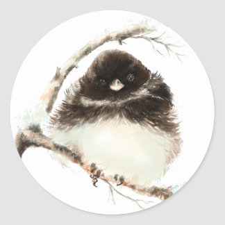 Cute Little Junco, Watercolor Nature Bird Classic Round Sticker