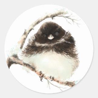 Cute Little Junco, Watercolor Nature Bird Classic Round Sticker