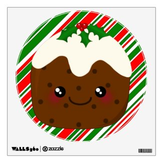 Cute Little Kawaii Christmas Pudding Room Decals