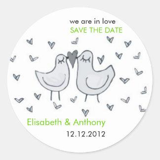 cute little kissing birds STD Classic Round Sticker