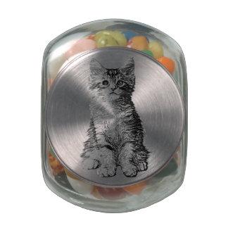 Cute Little Kitten Glass Candy Jar