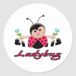 cute little lady ladybug with flowers classic round sticker