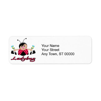cute little lady ladybug with flowers label