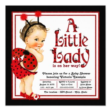 Toddler & Baby themed Cute Little Lady Red Ladybug Baby Shower Card