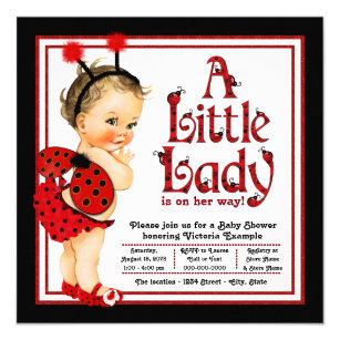 Save 60 on ladybug baby shower invitations limited time only zazzle cute little lady red ladybug baby shower invitation filmwisefo