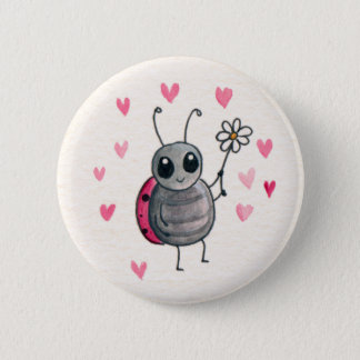 Cute Little ladybird or Ladybug with daisy Button